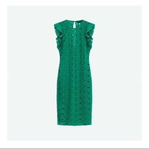Zara Green Lace Dress With Raw Shoulder Frills